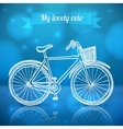 White doodle bike on blue background vector