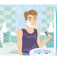 Young man shaving in bathroom mirror vector