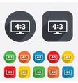 Aspect ratio 43 widescreen tv monitor symbol vector