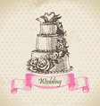 Wedding cake hand drawn vector