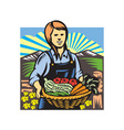 Organic farmer farm produce harvest retro vector