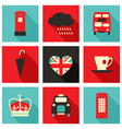 Long shadow london icons set vector