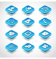 Call center isometric icons vector