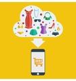 Mobile shopping woman vector