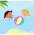 Little girls playing in sea vector