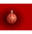 Red christmas ball on a red background vector