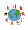International people with flag around the world vector