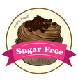 A fresh cupcake with a sugar free label vector