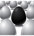 Black egg among white eggs concept vector
