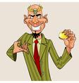 Cartoon man wearing a crown holding a golden egg vector