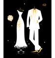 Wedding groom suit and brides dress vector