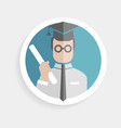 Round paper icon successful man vector
