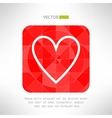 Red white heart icon in modern geometrical design vector