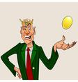 Cartoon man wearing a crown with a golden egg vector