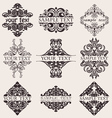 Set of nine ornate banner text quad vector
