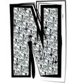 Diamond font letter n vector