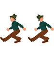 Happy cartoon man walking in green hat vector