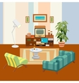 Retro living room vector