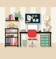 Workplace in cabinet room interior vector