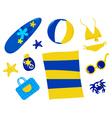 Retro summer and beach icons vector