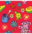 Tea time floral print vector