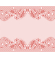 Pink background with ornament and pearls vector