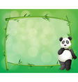 A panda beside a frame made of bamboo vector