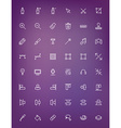 Thin line design tools icons set for web and vector