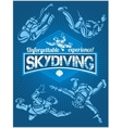 Skydiving set - emblem and skydivers vector