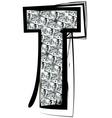 Diamond font letter t vector