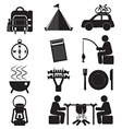 Camping and outdoor activity icon set vector