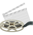 Film reel and clapboard vector