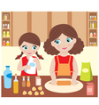 Mother with the daughter baking vector
