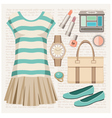 Fashion set with a top and a skirt vector