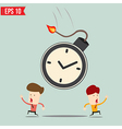 Businessman run away from time bomb vector