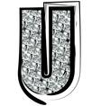 Diamond font letter u vector