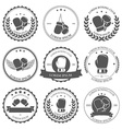 Boxing labels and badges set vector