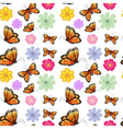 Orange butterflies with colorful flowers vector