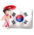 A south korean girl beside their flag vector