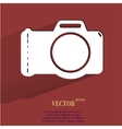 Photo camera flat modern web button with long vector