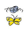 Spider and butterfly cartoon vector
