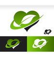 Swoosh green heart with leaf symbol vector