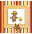 Cute greeting card with boy teddy bear vector