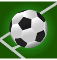 Soccer ball with green background and lines vector