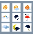 Set of weather icons sun moon clouds lightning vector