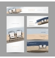 Business cards design chairs on the beach vector