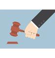 Businessman hand knocking judge gavel vector
