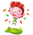 Happy kids with candies vector