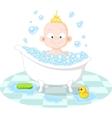 Happy smiling boy in the bath vector