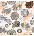 Seamless pattern with sunglasses flowers shells vector